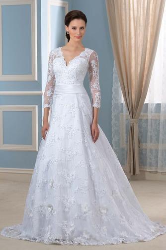 Robe de mariée Formelle Satin Chapelle Col en V Fermeture à glissière - Page 1