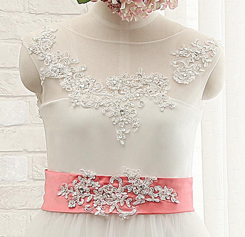 Robe de fille de fleur Sans Manches Col de chemise t Nœud à Boucles 3