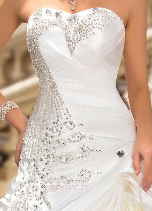 Robe de mariée Hiver Scintillait Princesse Asymétrique Satin 8