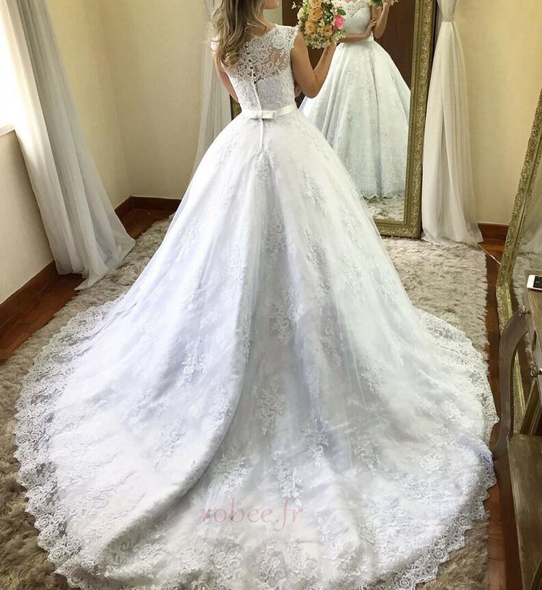 Robe de mariée Orné de Nœud à Boucle Plage Naturel taille Sans Manches 2