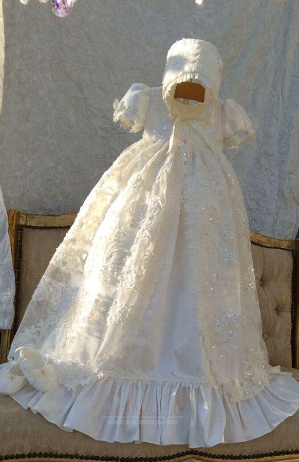 Robe de fille de fleur Bébé Manquant Perle Chapeau Naturel taille 1