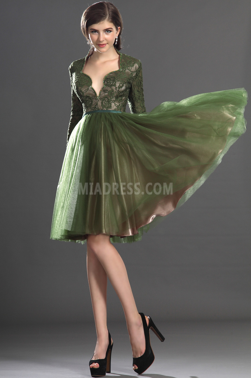 Robe de bal Dentelle Longueur de genou Épaule de la reine Glamour 3