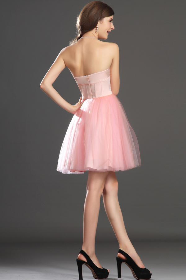 Robe de bal Tulle Mode Sablier Perle rose Col en Cœur Sans Manches 7