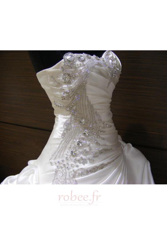 Robe de mariée Hiver Scintillait Princesse Asymétrique Satin 2