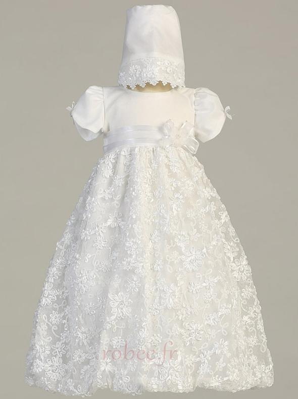 Robe de fille de fleur Princesse Satin élancé Bébé Fleurs Petit collier circulaire 1