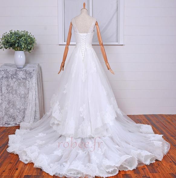 Robe de mariée Vintage Col Bateau Traîne Mi-longue Haut Bas Dentelle 2