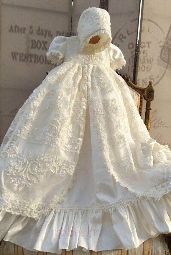 Robe de fille de fleur Bébé Manquant Perle Chapeau Naturel taille 3
