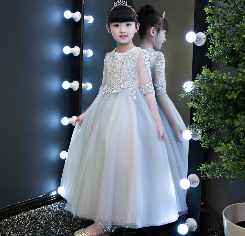 Robe de fille de fleur Dentelle Formelle Manquant A-ligne Cérémonie 3