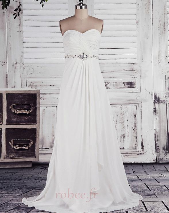 Robe de mariée Empire Longue Laçage De plein air Sans bretelles 1