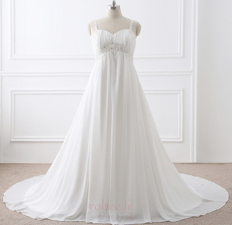 Robe de mariée Grandes Tailles Larges Bretelles Empire Chaussez 1