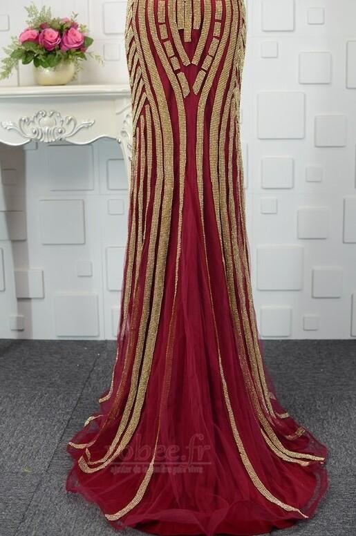 Robe de soirée Tulle Naturel taille semi-couverte Étoilé Corsage Avec Bijoux 9