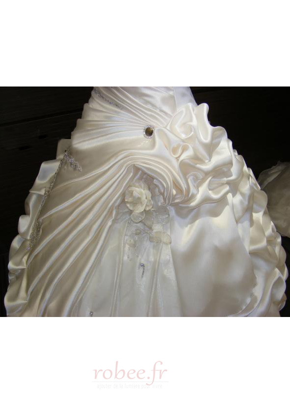 Robe de mariée Hiver Scintillait Princesse Asymétrique Satin 3
