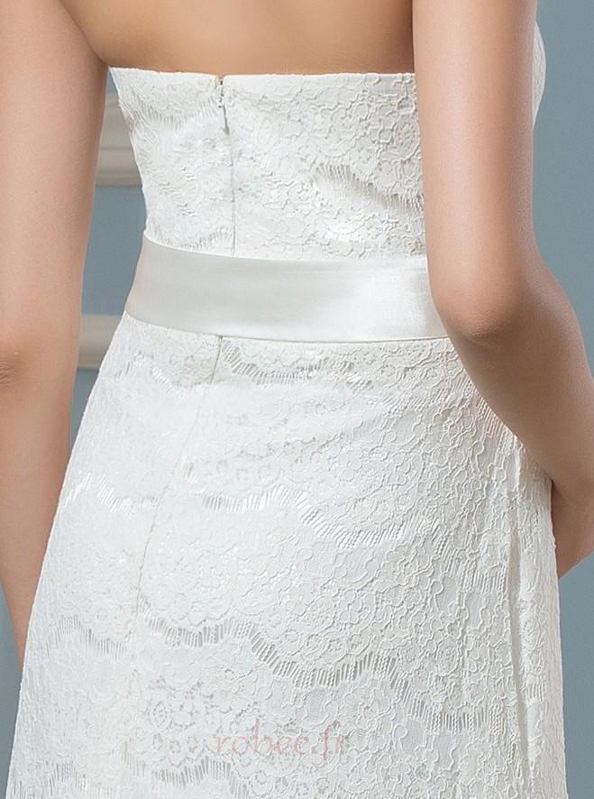 Robe de mariée Dentelle Empire Longueur de plancher Dos nu haut bustier tube 4