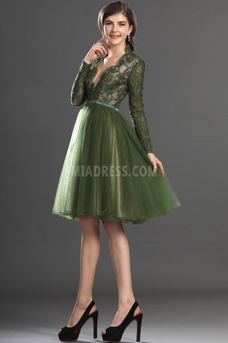 Robe de bal Dentelle Longueur de genou Épaule de la reine Glamour 5