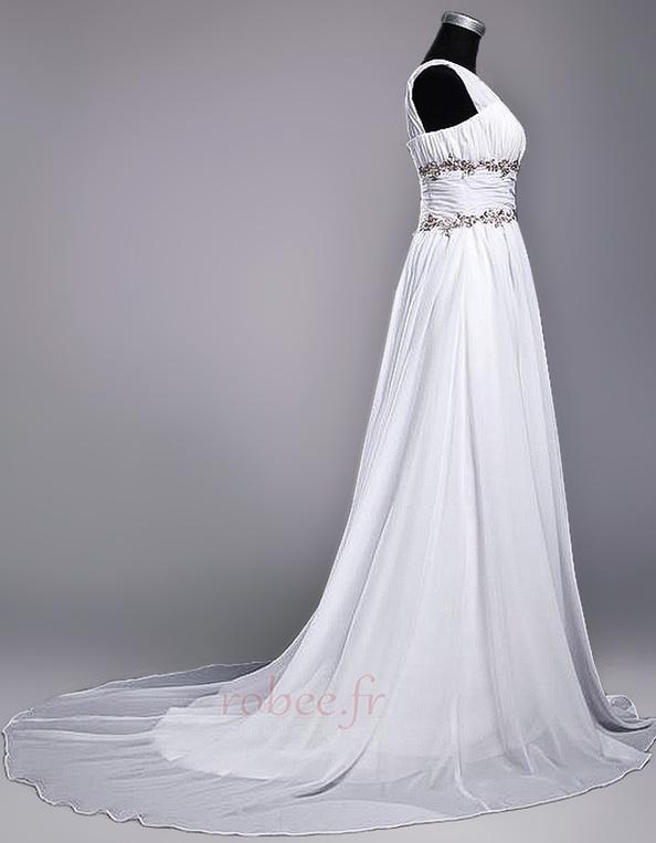 Robe de mariage Fourreau plissé Drapé Une épaule A-ligne Mousseline 2