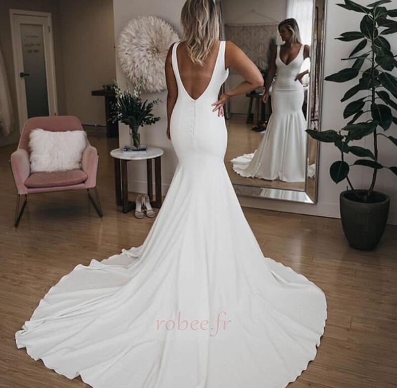 Robe de mariée Sirène Été Dos nu Col en V Petites Tailles De plein air 2