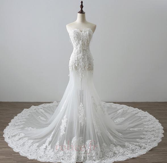 Robe de mariée Tulle Norme Automne Dépouillé Elégant Lacez vers le haut 1