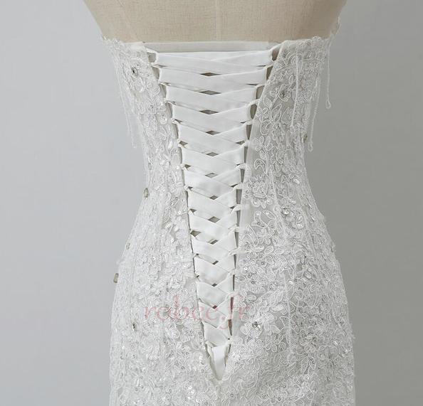 Robe de mariée Tulle Norme Automne Dépouillé Elégant Lacez vers le haut 5