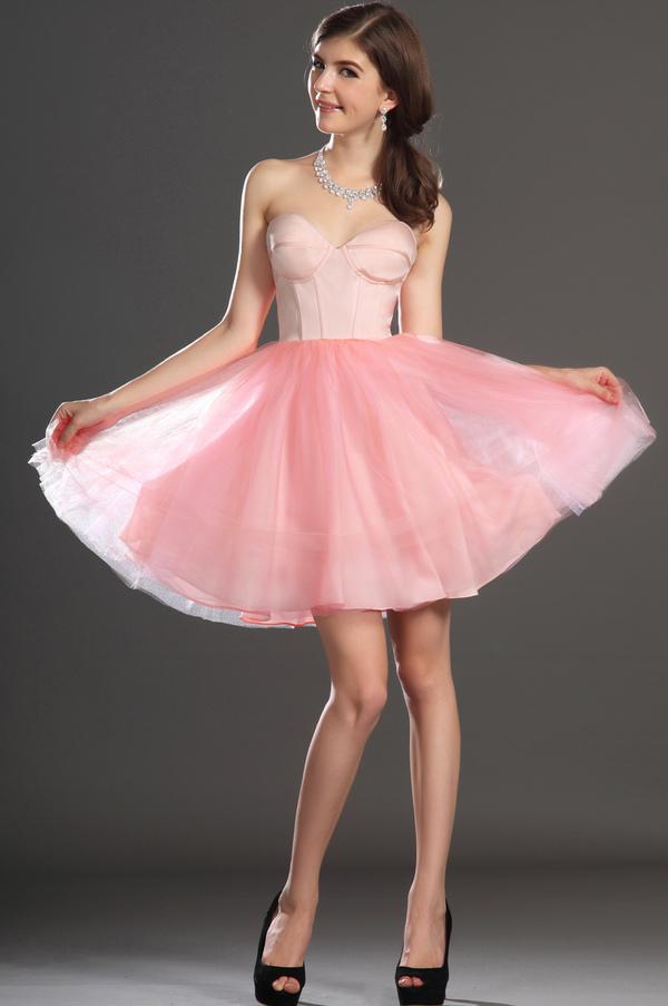 Robe de bal Tulle Mode Sablier Perle rose Col en Cœur Sans Manches 3