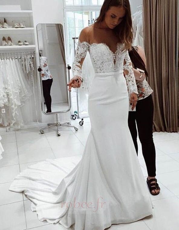 Robe de mariée Dentelle Traîne Courte Naturel taille Manche de T-shirt 1