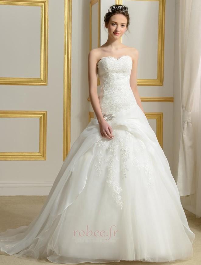 Robe de mariée Sans courroies Été A-ligne Organza Naturel taille 1
