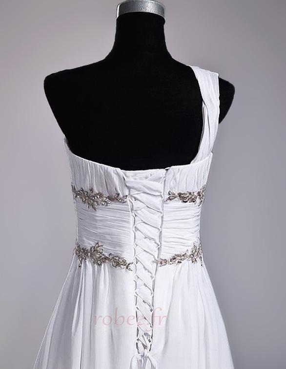 Robe de mariage Fourreau plissé Drapé Une épaule A-ligne Mousseline 7
