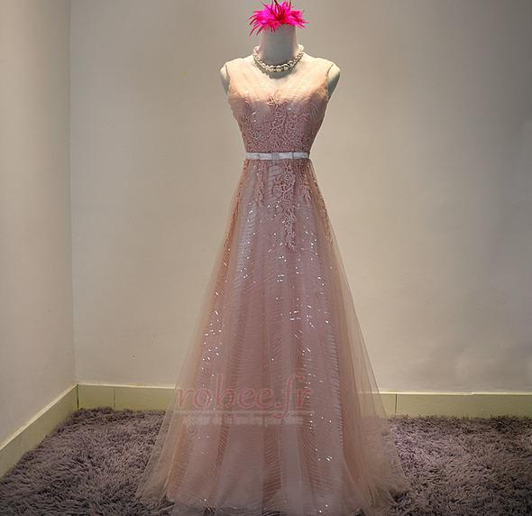Robe de demoiselle d'honneur Chic A-ligne Glissière Rose Printemps 1