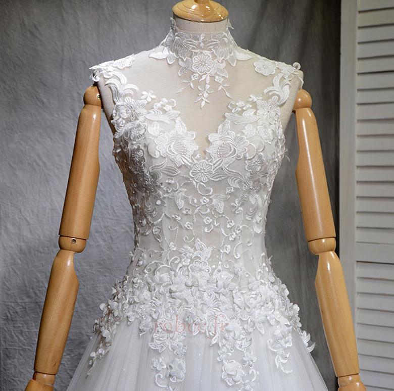 Robe de mariée Naturel taille Haute Couvert Satin A-ligne Manquant 4