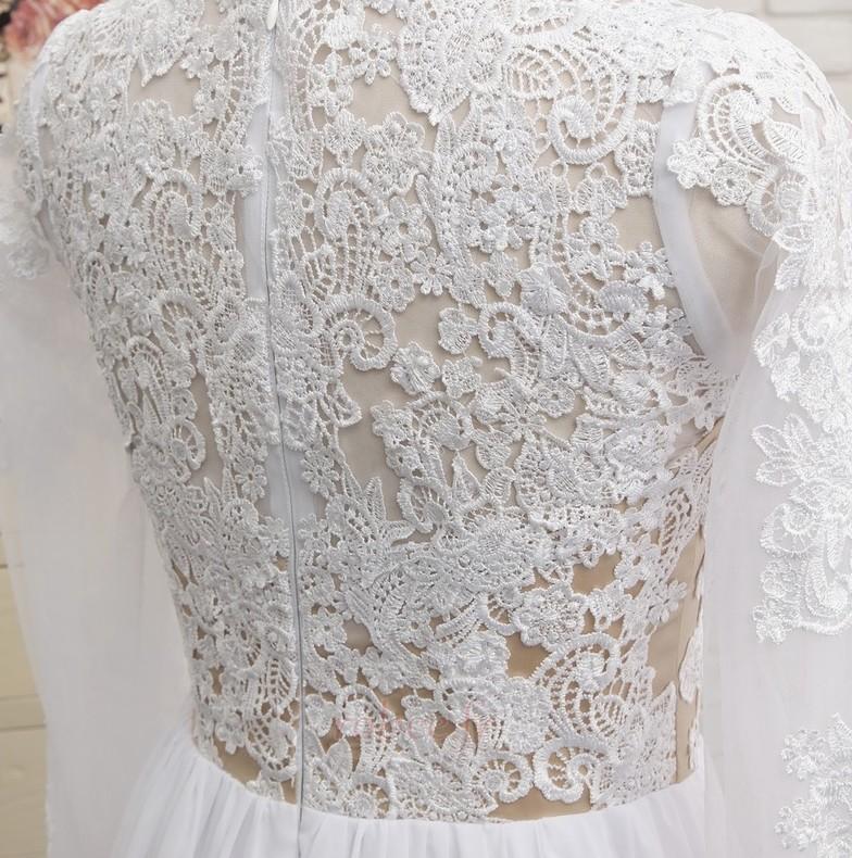 Robe de mariée A-ligne Longueur de plancher Manche Longue Plage 5