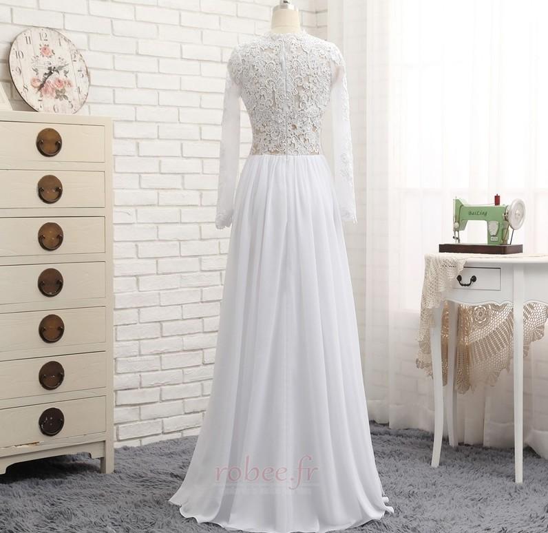 Robe de mariée A-ligne Longueur de plancher Manche Longue Plage 2