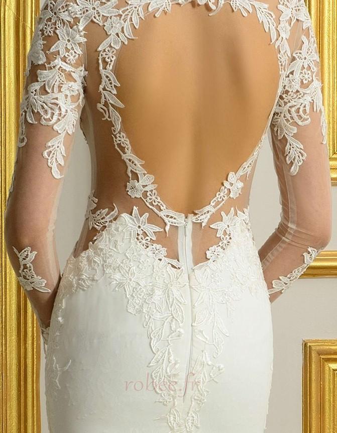 Robe de mariée Sans Manches Manquant Printemps Elégant Traîne Moyenne 5
