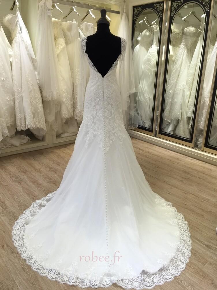 Robe de mariée Manche Longue Fermeture à glissière Traîne Mi-longue 2