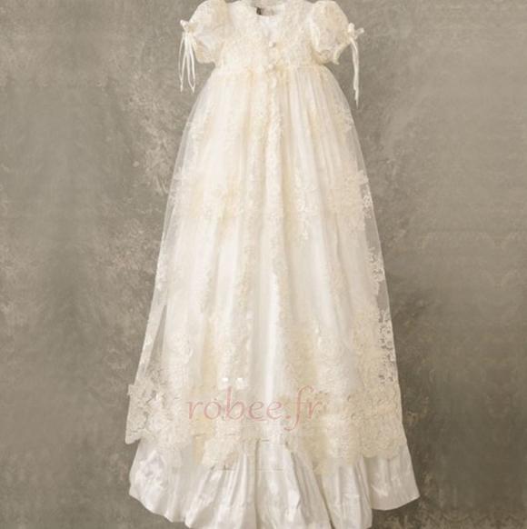 Robe de fille de fleur Naturel taille Manquant Cérémonie Haute Couvert 1