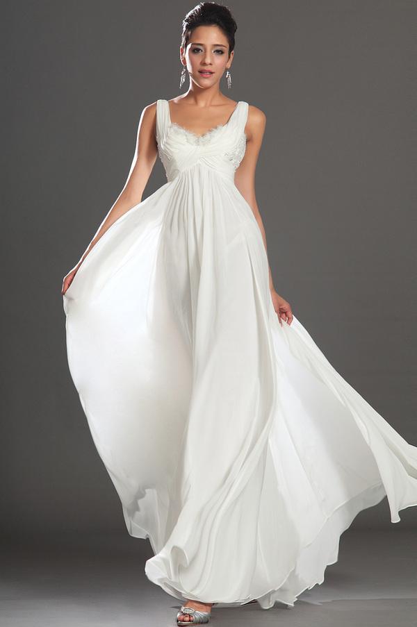 Robe de soirée Blanche Fermeture à glissière Automne taille haut 1