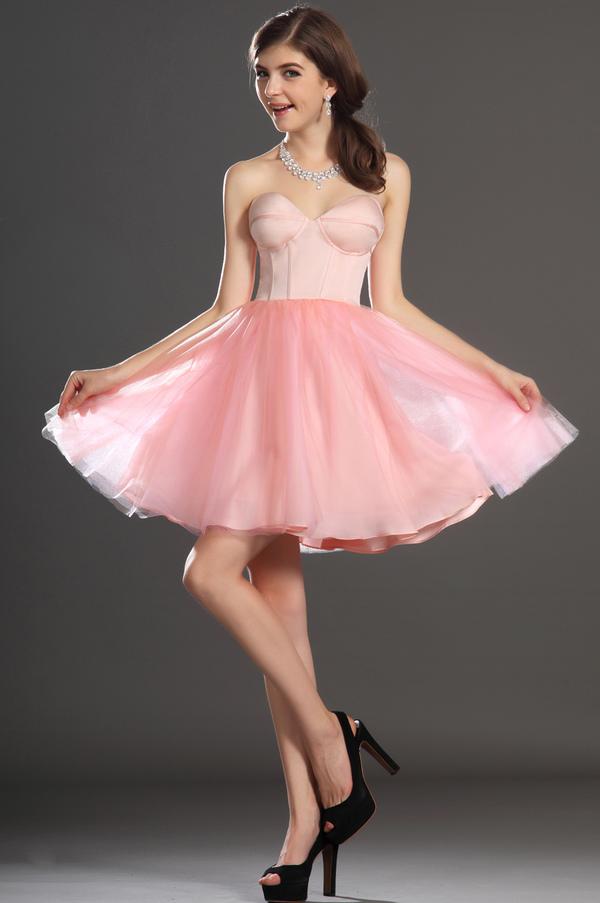 Robe de bal Tulle Mode Sablier Perle rose Col en Cœur Sans Manches 2