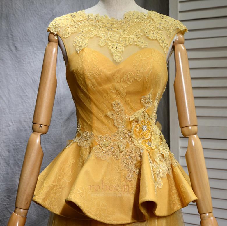 Robe de bal Vintage Tulle A-ligne Train de balayage Manquant 4