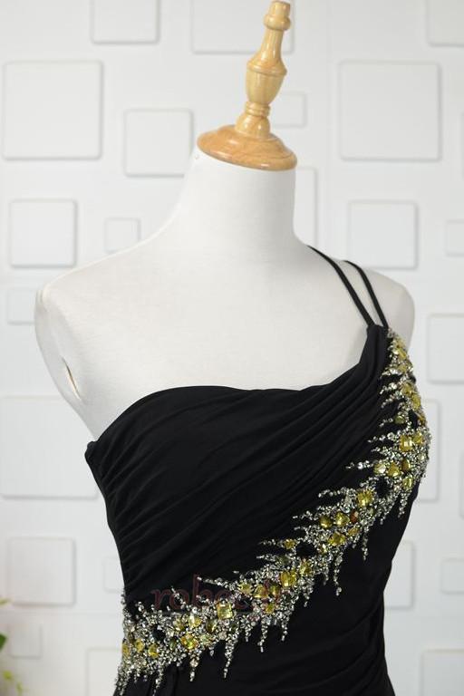 Robe de bal Noir Naturel taille Une épaule Longue Sans Manches 4