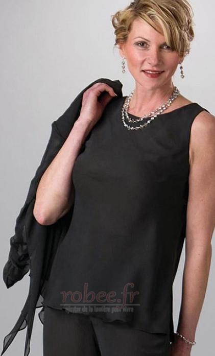 Robe mères Avec la veste Col Bateau Mariage Mousseline Un Costume 2