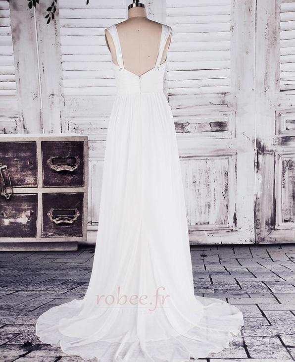 Robe de mariée Col en Cœur Sage Sans Manches Printemps noble 3