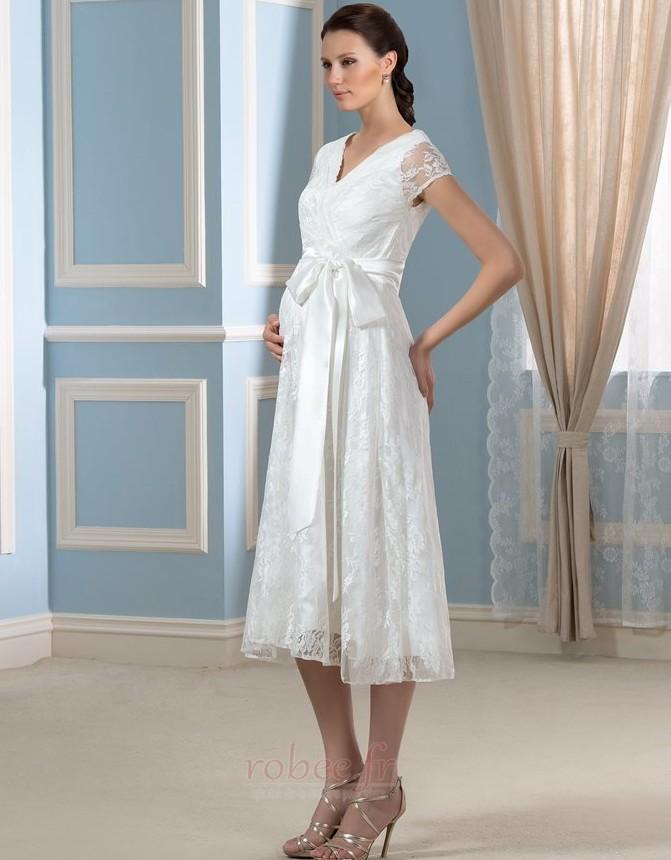 Robe de mariée Dentelle Luxueux Longueur de genou Taille haute 2