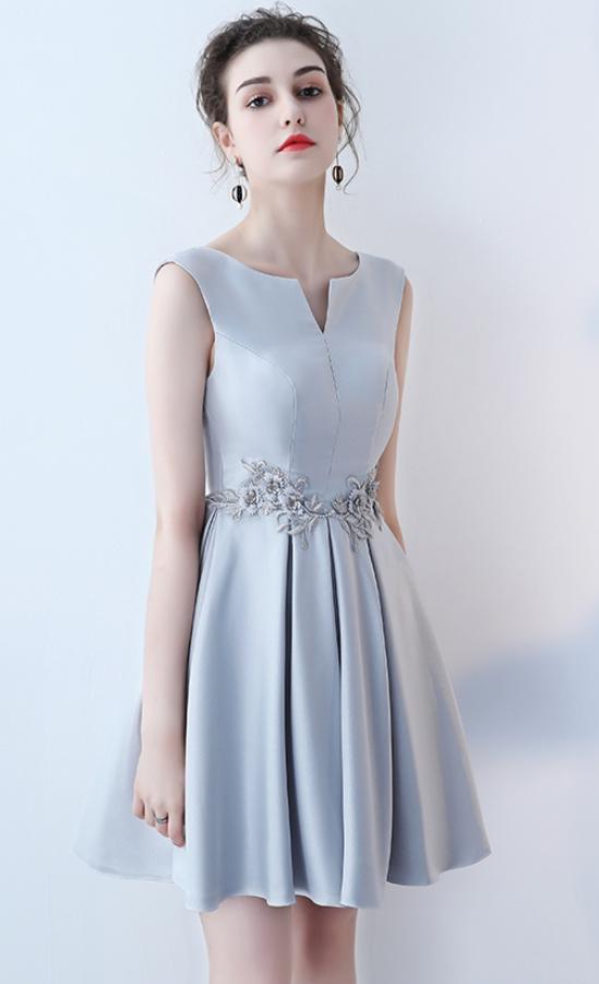 Robe de demoiselle d'honneur Longueur de genou Satin Norme A-ligne 5
