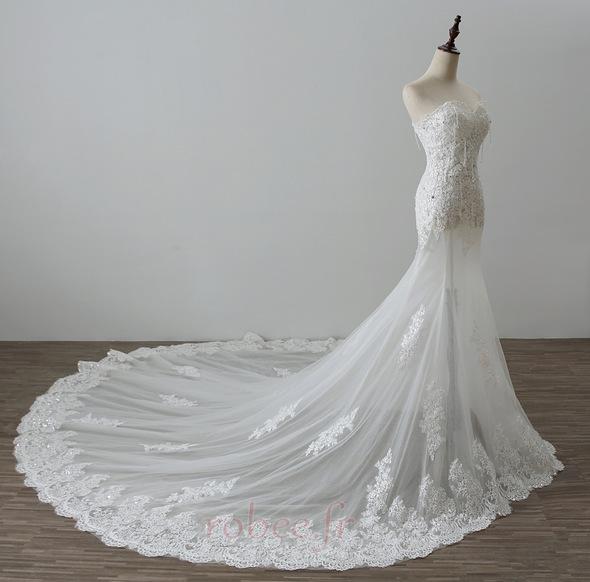 Robe de mariée Tulle Norme Automne Dépouillé Elégant Lacez vers le haut 3