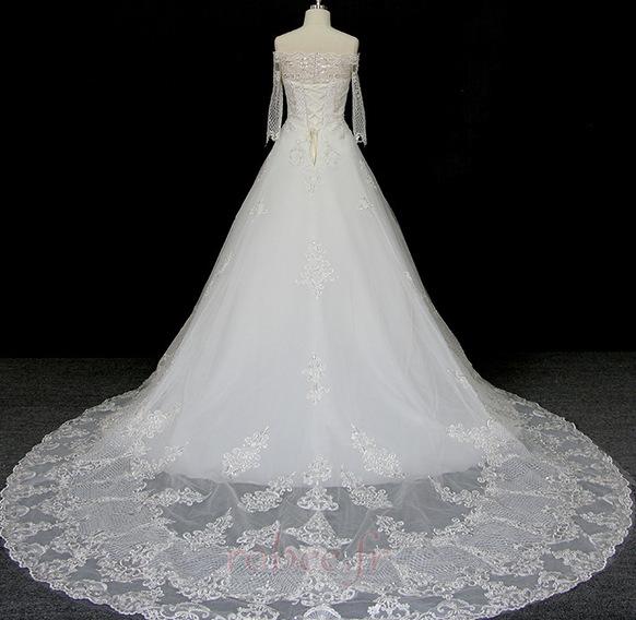 Robe de mariée Manche Longue Perler Formelle Naturel taille A-ligne 2