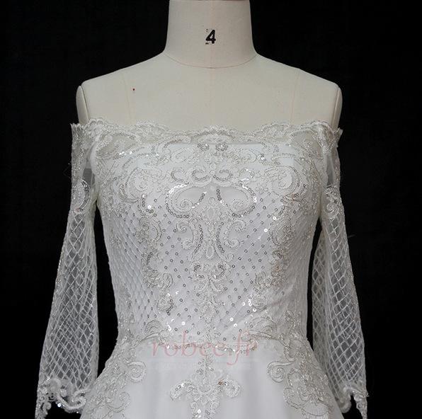 Robe de mariée Manche Longue Perler Formelle Naturel taille A-ligne 3
