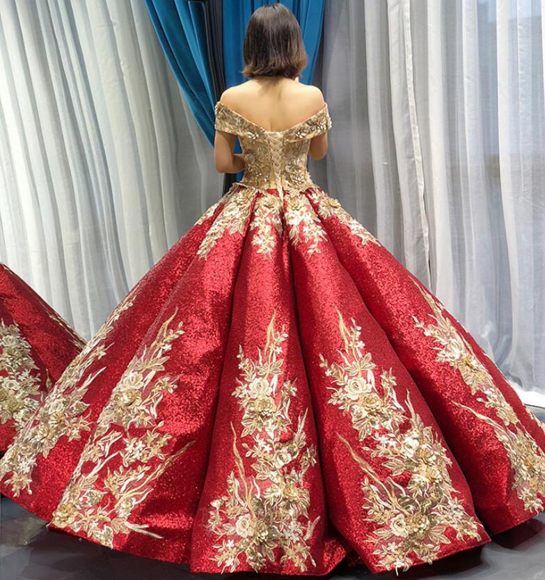 Robe de bal Rosée épaule Manche Courte Laçage À la masse Étoilé 1