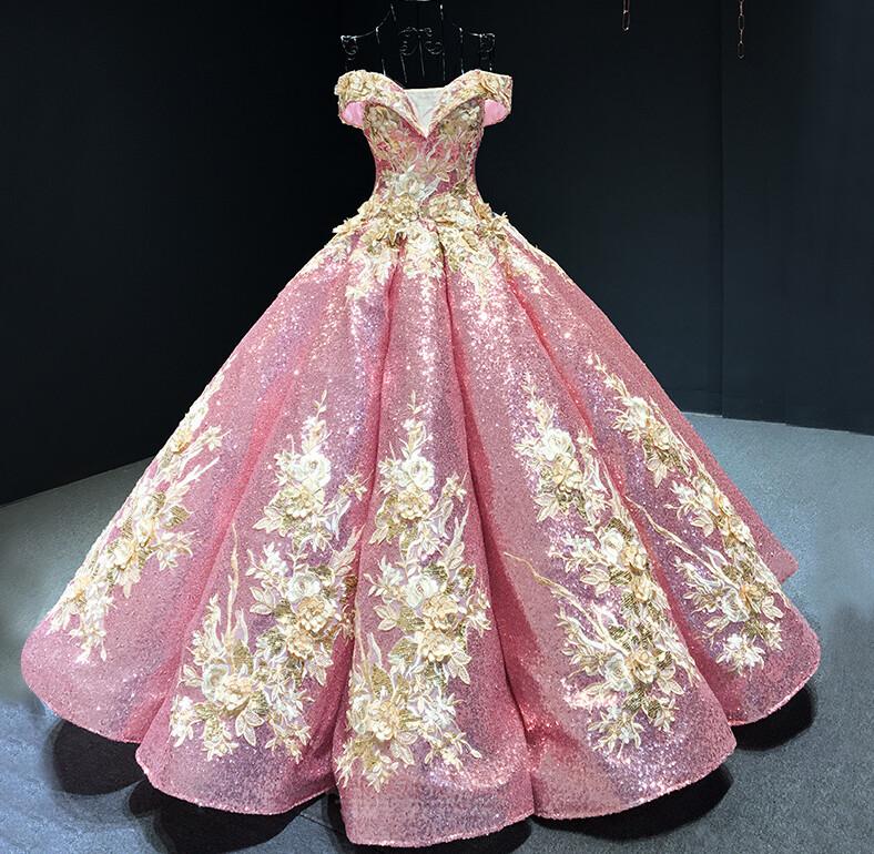 Robe de bal Rosée épaule Manche Courte Laçage À la masse Étoilé 7