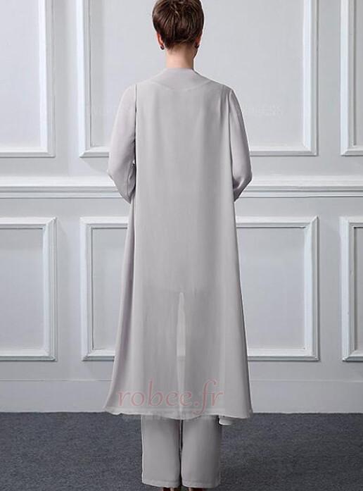 Robe mères Manche Longue Formelle Chiffon Un Costume Festin Haute Couvert 2