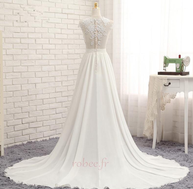 Robe de mariage Traîne Courte Fourchure Frontale Petit collier circulaire 3