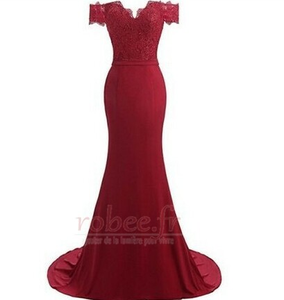 Robe de bal Printemps Sirène Rosée épaule Perler Manquant Dentelle 12