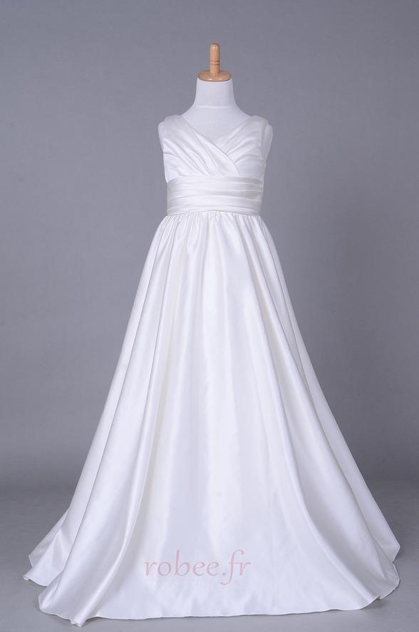 Robe de fille de fleur Corsage plissé Blanche Fermeture à glissière 1